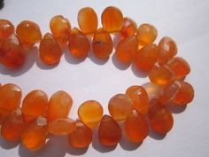 8 inch carnelian 8x12mm faceted briolettes beads one strand