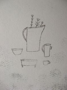 cathy cullis - monoprint - still life with jug of stems