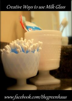 We have a wide variety of milk glass to help organize your area in style.