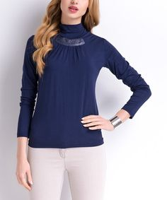 This Navy Embellished Turtleneck is perfect! #zulilyfinds