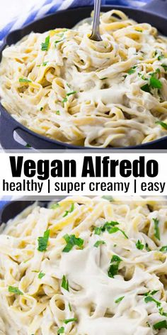 This vegan Alfredo sauce is the perfect comfort food! It's so incredibly creamy and rich without being packed with butter and cream! It makes such a great vegan dinner! Vegan comfort food at its best! More vegan pasta recipes at veganheaven.org! #vegan #veganrecipes