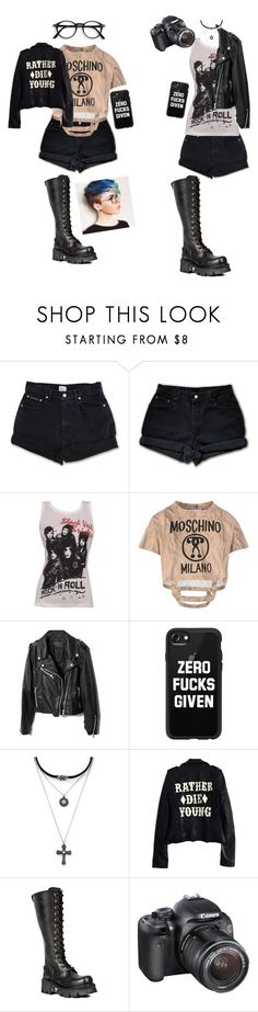 """Untitled #208"" by band-obsessedxx ❤ liked on Polyvore featuring Calvin Klein, Levi's, Moschino, Casetify, Forever 21, High Heels Suicide, Reactor and Eos"
