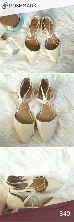 NWOT Gap nude flats that tie around the ankle Final Sale!  NWOT. Gap nude flats that tie around the ankle.Perfect for Spring! GAP Shoes Flats & Loafers