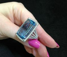 An aquamarine and diamond cocktail ring by Coast Diamond. -- 20 Gorgeous Aquamarines - Must See- Style Estate -