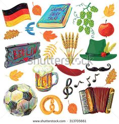 Germany travel traditional food and attractions symbol set. A set of objects to the Oktoberfest. Perfect for your design