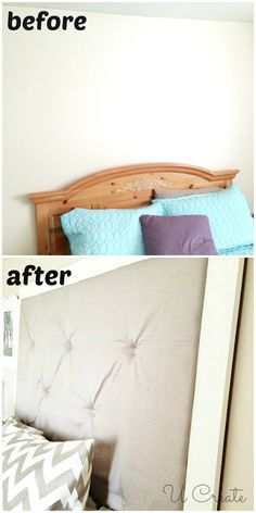 Before and After - DIY Fabric & Tufted Headboard - for Maddie's bedroom Diy Furniture Projects, Design Furniture, Furniture Making, Home Projects, Repurposed Furniture, Furniture Plans, Wood Furniture, Diy Headboards, Headboard Ideas