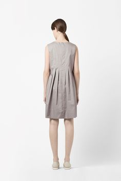 COS image 2 of Back pleat dress in Light Grey