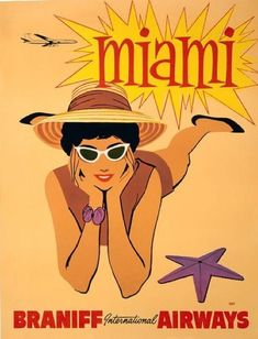 This vintage Miami travel poster was in circulation circa Miami - Braniff International Airways. - This Miami vintage travel poster was in circulation circa Miami - Braniff International Airways. Travel Ads, Airline Travel, Travel Agency, Miami Florida, Miami Beach, Florida Vacation, Florida Travel, Beach Posters, Vintage Travel Posters
