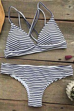 Cupshe Hit Summer Stripe Bikini Set