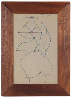 "14557- Santos Rene Irizarry, Mid 20th Century, Ink on Paper, 8.5""x11.5"" Framed"