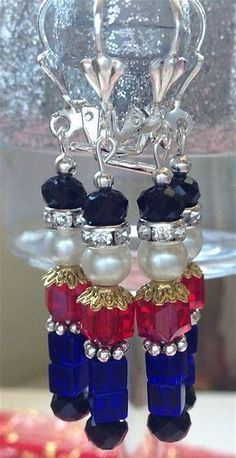 These adorable and Festive Nutcracker Christmas Earrings are made with Blue, Black and Red Cubed Glass Crystals. Not my style but perhaps a little Christmas tree ornament? Beaded Christmas Ornaments, Christmas Diy, Diy Christmas Earrings, Jewelry Christmas Tree, Diy Gift Ideas For Christmas, Decorating For Christmas, Nutcracker Christmas Decorations, Nutcracker Ornaments, Christmas Island