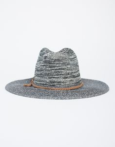 For the cool girl next door. This cool gray Stormy Straw Hat features an exaggerated structured top with a wide brim and a light brown braided detail. The contrast of colors makes this hat even more i