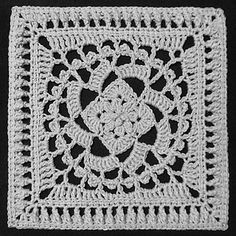 This elegant square began with the off-kilter blocks of double crochet from another one of my patterns, and it ended with two optional centers and a cluster/shell stitch that I've never seen before. Instructions are given for making a block in a single color; if you prefer to change colors, simply replace the beginning chain with the appropriate standing stitch. So, take your pick of center medallions and change colors whenever you like.
