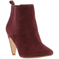 Dune Olivv Suede Pointed Toe Ankle Boot , Burgundy ($150) ❤ liked on Polyvore featuring shoes, boots, ankle booties, burgundy, suede ankle booties, flat booties, high heel booties, chelsea boots and suede booties