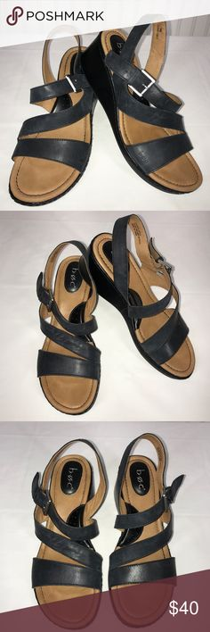 """Born b.o.c Alma Wedge Sandal, Size 9 Like New These b.o.c Alma Wedge sandals are in like new condition. They are a black leather upper and wedge measures 2.25"""". Silver buckle with 5 holes for adjustments. Nice Sandal without the new price. Born Shoes Wedges"""