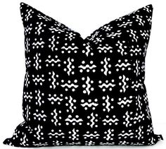 Black Tribal Pillow Cover Black and White Geometric Modern
