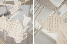 cut teacup and teapot shapes out of unique papers such as music sheets and maps!