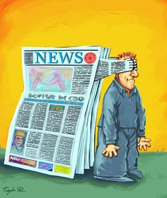 Horatian: The news (from newspapers) blocks out the truth and real facts. We are left with filling in the blanks on our own. Political Satire, Political Cartoons, Pictures With Deep Meaning, Deep Images, Sketch Manga, Satirical Illustrations, Protest Art, Social Art, Reality Of Life