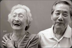 Elderly Asian Couple Laughing