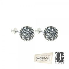 925 Silver Celestial Star Swarovski Earrings Large - Black Diamond Color