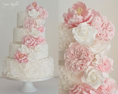 Cascading Flowers & Ruffle Roses - Cake by Sugar Ruffles