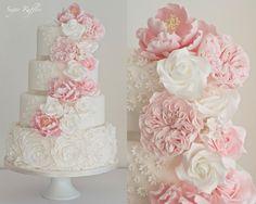 Cascading Flowers & Ruffle Roses - Cake by Sugar Ruffles