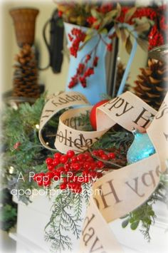 Rustic Christmas Mantel in Red & Turquoise
