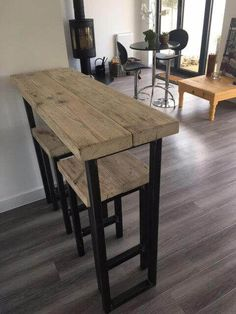 New Breakfast Bar Table Furniture Ideas Bar Table And Stools, Dining Table Legs, Wood Bar Table, Rustic Pub Table, Bar Table Diy, Dining Room, Wood Tables, Steel Table, Round Dining