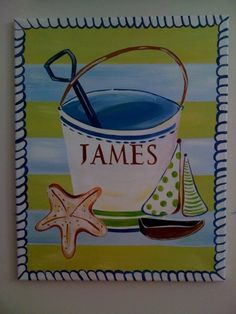 For your little beach baby! Customize it for baby girl or boy. Match their room decor...    http://www.facebook.com/pages/Naptime-Creations-by-Mia/103900334151?sk=app_197602066931325Personalize Beach Pail by mia4art on Etsy, $60.00