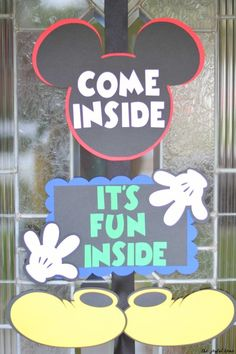 Mickey Mouse Birthday Party - The Joyful Home Mickey Mouse Birthday Party- entry sign Mickey 1st Birthdays, Mickey Mouse First Birthday, Mickey Mouse Clubhouse Birthday Party, 2nd Birthday Party Themes, Boy Birthday, Birthday Ideas, Mickey Birthday Parties, Birthday Banners, Third Birthday