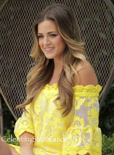 Jojo Fletcher Wears A Yellow Off-the-Shoulder Lace Dress You Need In Your Closet Too