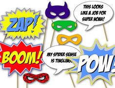 Superhero Photo Booth Props- printable diy birthday party decorations by The Party Project