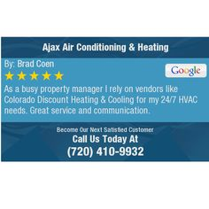 As a busy property manager I rely on vendors like Colorado Discount Heating & Cooling for...