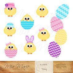 INSTANT DOWNLOAD  Digital Clip Art  Easter clipart by MyMiaMarie, chick, chicks, eggs, stripes, easter bunny, bunny ears, pastel