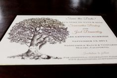 Customizable Oak Tree with Initials Save the Date or Invitation