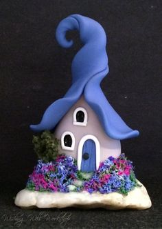 Polymer Clay Blue Fairy House by missfinearts