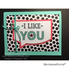I Like You Alternate Paper Pumpkin Card Using Stampin' Up! March 2015 Sew You Stamp Set/ www.stampinwithlinda.com