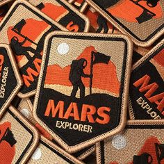 NASA patch / Mars Explorer Iron on patch for backpacks, jackets and more. Cool Patches, Pin And Patches, Iron On Patches, Hat Patches, Sew On Patches, Badge Design, Logo Design, Space Patch, Trout