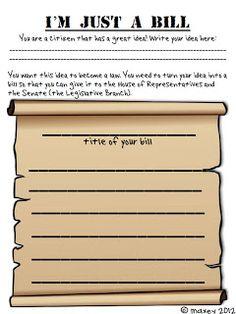 Printable activity sheet for your students to create their own bills and role-play process of turing them into laws