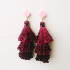 #silk #tassels #earrings #asian #style #suzywandeluxe #burgundy