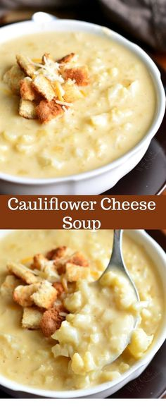 This simple cauliflower cheese soup recipe takes only a… Cauliflower Cheese Soup. This simple cauliflower cheese soup recipe takes only about 40 minutes to make and you will be enjoying this cheesy, creamy, hearty soup. Beef Soup Recipes, Crock Pot Recipes, Ground Beef Recipes, Vegetarian Recipes, Cooking Recipes, Keto Recipes, Cheese Recipes, Cooking Tips, Dinner Recipes
