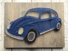 """This string art design brought me back to my childhood! """"Punch buggy no punch backs!"""" I'm sad that I don't see these as much on the road as I did 20 years ago. Visit my website for more of my custom designs. String Art Templates, String Art Tutorials, String Art Patterns, Hilograma Ideas, Diy Kits For Adults, String Wall Art, String Crafts, Christmas Card Crafts, Paper Crafts Origami"""