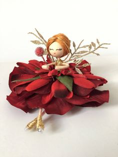 Excited to share the latest addition to my #etsy shop: Christmas fairy angel, Tree ornament, Red hanging decorations, gift for her, mum, sister, friend, Unique decor, Collectables, Girls gift #christmas #toys #red #birthday #gold #goddaughtergift #personalisedpresent #christmasdecoration #hangingornament