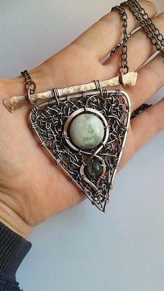 copper wire wrapped necklace with moss Agate stone.Custom ordered ! https://www.etsy.com/shop/Tangledworld