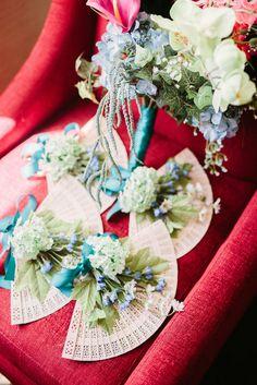 Bridesmaid fan bouquets
