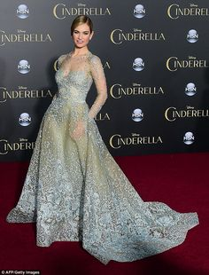 Stunning: Lily James dropped jaws as she transformed into an enchanting princess at the US premiere of Cinderella