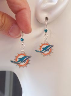 Miami Dolphins Earrings, Fins Bling, Teal Crystal Leverback Dolphins Charm Earrings, Pro Football Dolphins Jewelry Accessory Fanwear by scbeachbling on Etsy
