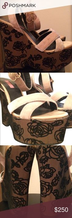 Betsey Johnson ivory black rose velvet Platforms Platform wedge shoes by Betsey Johnson vintage sandals high heels cream ivory strappy velvet with black rose velvet design print pre owned size 9 Super cute with flared festival pants unicorn rainbow bell bottoms .. perfect for rave dance party Coachella burning man beach river summer night vacation boating etc. cotton blend tags: uniform pastelgoth marilyn dolls current mood fox kitten  candy raver Lollipop doll pinup dollbaby girl sexy…