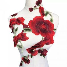 Embroidered Red Flowers Patch For Sale in Romford, Havering Bridal Dress Bag, Bridal Dresses, Patches For Sale, Embroidery Patches, Two Hands, Red Flowers, Applique, Ribbon, Buy And Sell