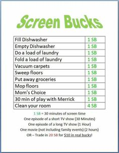 kids earn screen time by doing chores! kids earn screen time by doing chores! Parenting Advice, Kids And Parenting, Charts For Kids, Kids Behavior, Raising Kids, Raising Daughters, Summer Kids, Activities For Kids, Learning Activities